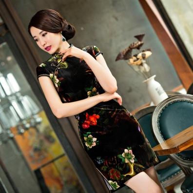 -font-b-Shanghai-b-font-Story-font-b-Qipao-b-font-Dress-elegant-velvet-short